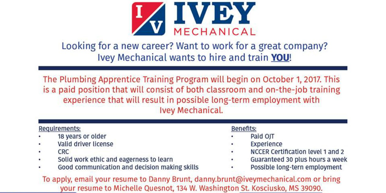 Holmes cc ivey mechanical to offer paid introduction to plumbing holmes cc ivey mechanical to offer paid introduction to plumbing training course kosciusko attala partnership xflitez Gallery